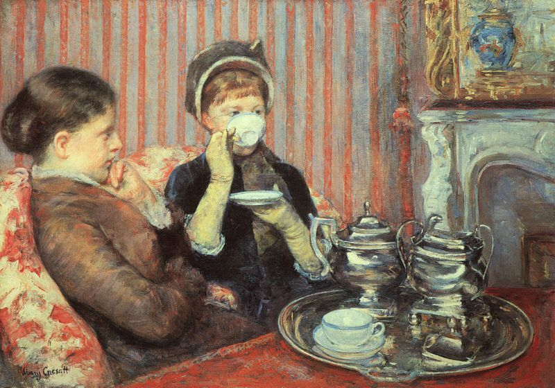 Målning The tea Mary Cassatt