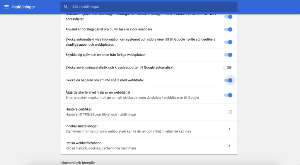 Inställning för Do not track/Spåra inte i Google chrome