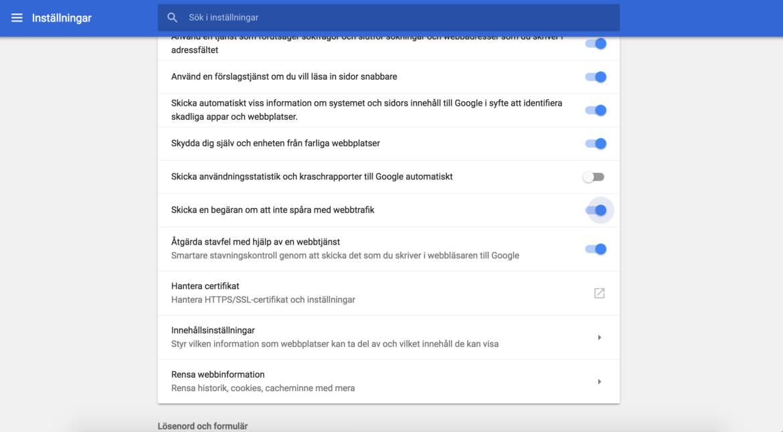 Do not track i Google chrome