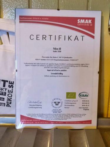 Certifikatet för KRAV och EU-ekologiskt för Pekoe ekologiskt te